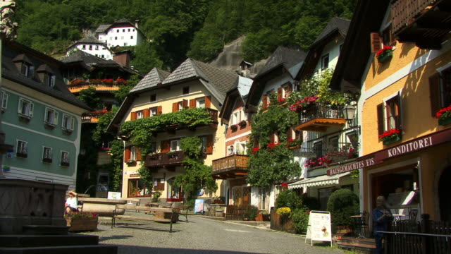 ms, traditional austrian houses, village hallstatt, austria - traditionally austrian stock videos and b-roll footage