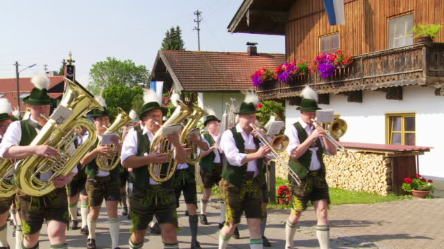 traditional bavarian costume parade - trombone stock videos & royalty-free footage