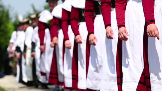 traditional bavarian costume parade (selective focus) - conformity stock videos & royalty-free footage