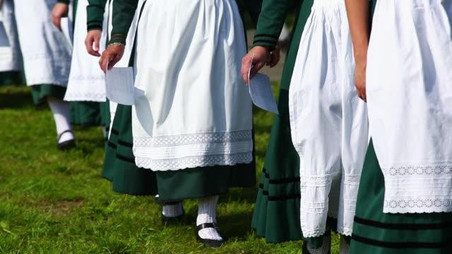 cu traditional bavarian costume parade - conformity stock videos & royalty-free footage