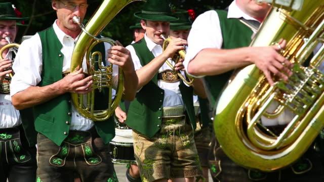 ms traditional bavarian costume parade - ブラスバンド点の映像素材/bロール