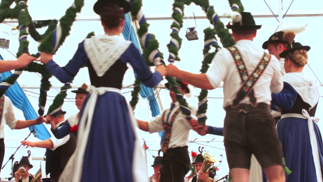 Traditional Bavarian dance performed in a beer tent