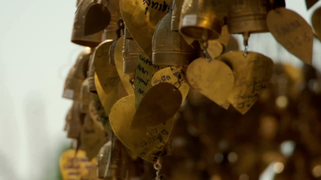 Traditional Bells With Wishes Near Buddhist Temple Close-up