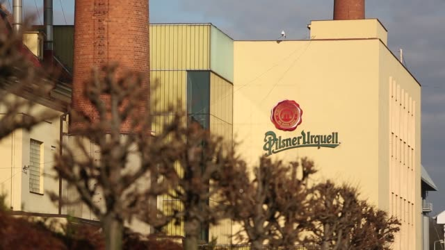traditional brick chimneys stand at the pilsner urquell brewery, operated by sabmiller plc, in plzen, czech republic, on monday, dec 7, 2015 - czech republic stock videos & royalty-free footage