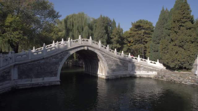 traditional bridge on kunming lake, the summer palace, unesco world heritage site, beijing, people's republic of china, asia - summer palace beijing stock videos & royalty-free footage