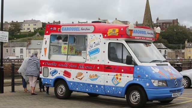 traditional british ice cream van in maryport, cumbria, uk. - sweet food stock videos & royalty-free footage