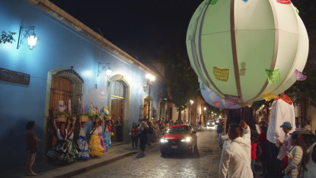 traditional calenda celebration at night  in oaxaca, mexico - puppet stock videos & royalty-free footage