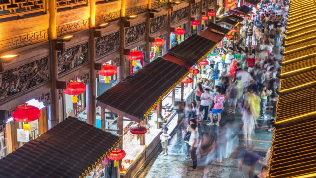 t/l traditional chinese building in hongya cave, chongqing, china - chinesisches laternenfest stock-videos und b-roll-filmmaterial