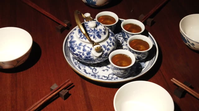 traditional chinese tea ceremony on the tea table - chinese tea pot stock videos and b-roll footage