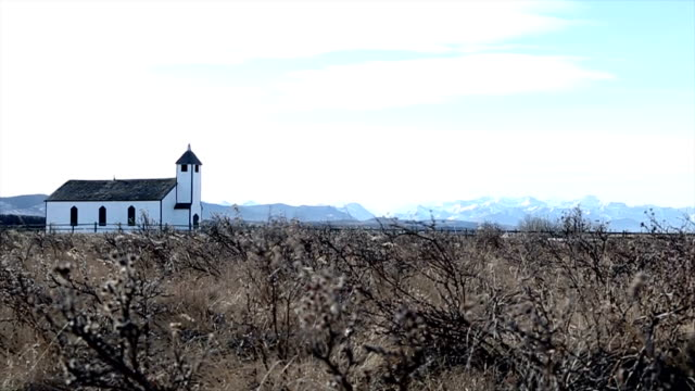traditional church on the prairie foothills - abandoned stock videos & royalty-free footage