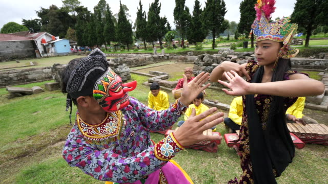traditional dance and traditional music from central java. - barry kusuma stock videos and b-roll footage