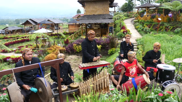 vídeos de stock e filmes b-roll de traditional dance and traditional music most popular and eagerly wait in east java dance and traditional music famous because it is played by a... - gamelão