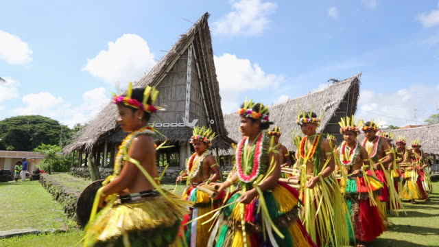 Traditional dancers are seen on Yap Micronesia