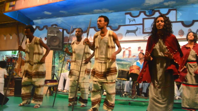 ms traditional dancers at tourist show with waiters and music audio / abbia ababa, ethiopia - east africa stock videos & royalty-free footage