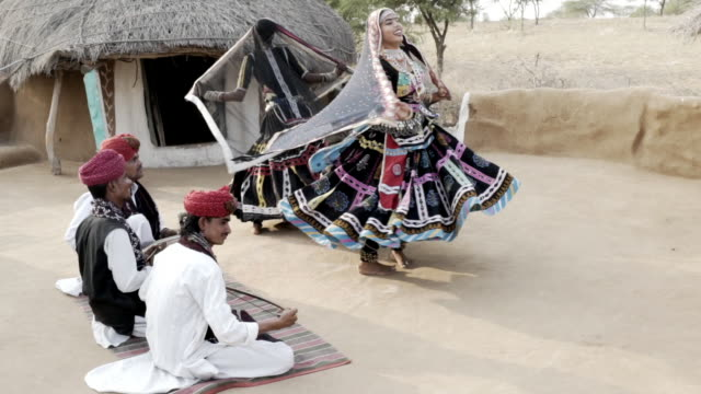 traditional dancers. rajasthan. india. - musical instrument stock videos & royalty-free footage