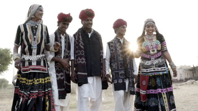 traditional dancers. rajasthan. india. - five people stock-videos und b-roll-filmmaterial