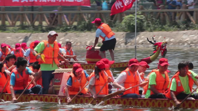 MS TS Traditional dragon boat race during Dragon Boat Festival / Xian, Shaanxi, China
