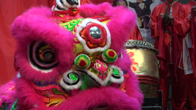traditional dragon dance at the 2017 toronto chinatown chinese new year celebration the year of rooster in one of the biggest north american... - dragon stock videos & royalty-free footage