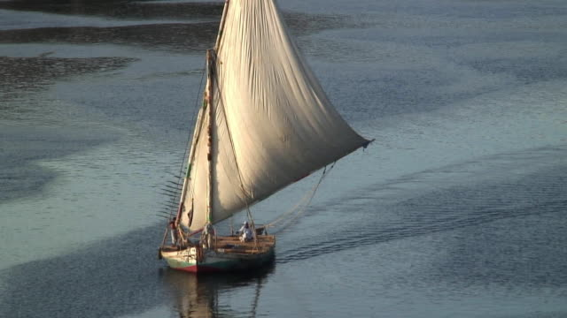 MS Traditional felucca boat sailing on Nile river near Aswan / Egypt