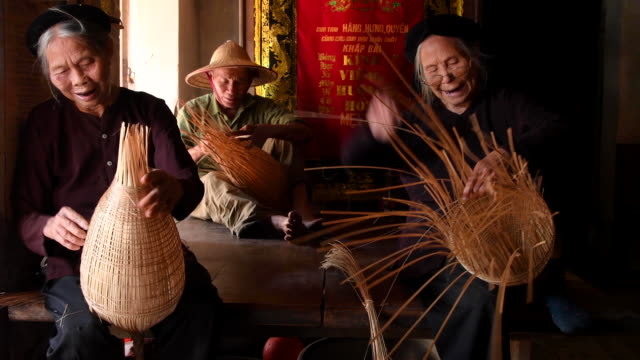 traditional fish trap making, hanoi province, vietnam - tradition stock videos & royalty-free footage