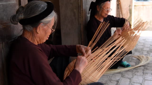 Traditional Fish Trap making, Hanoi province, Vietnam