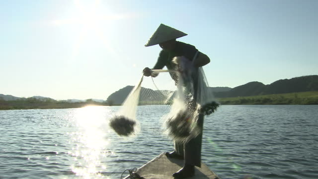 traditional fishing at shimantogawa river, kochi, japan - fishing net stock videos & royalty-free footage