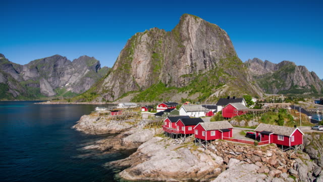 Traditional fishing huts in Reine, Lofoten Islands in Norway