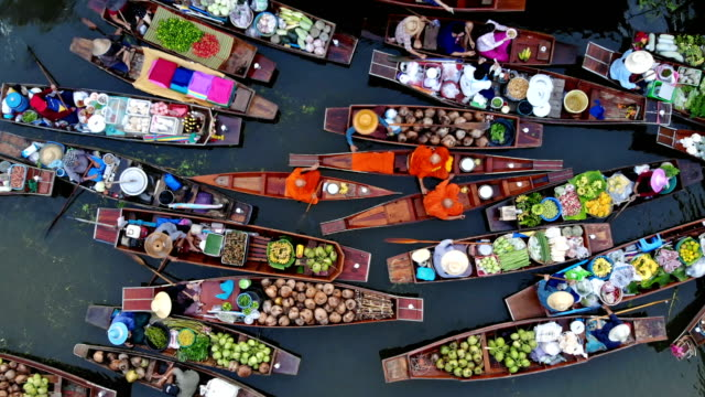 4k traditional floating market - aerial view stock videos & royalty-free footage
