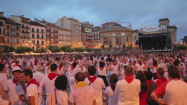 WS Traditional Folk dancing Plaza del Castillo Festival of San Fermin / Pamplona, Navarre, Spain