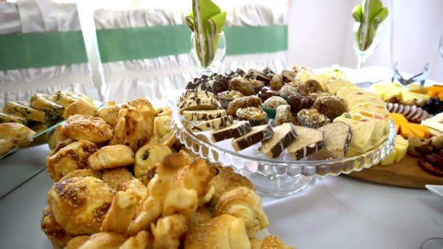 traditional food at wedding reception - buffet stock videos & royalty-free footage