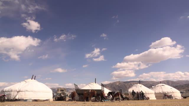 traditional ger - yurt - housing in mongolia at golden eagle festival - mongoliet bildbanksvideor och videomaterial från bakom kulisserna