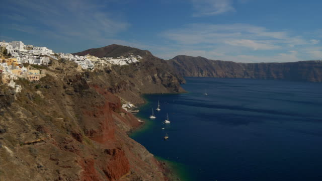 traditional greek village of oia on mediterranean island of santorini - oia santorini stock videos & royalty-free footage