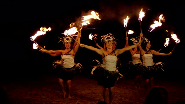 traditional hawaiian fire hula dancers - hawaii islands stock videos and b-roll footage