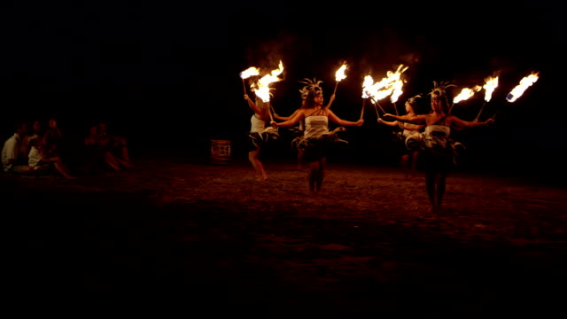 traditional hawaiian fire hula dancers - big island hawaii islands stock videos & royalty-free footage