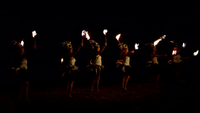 traditional hawaiian fire hula dancers - polynesian ethnicity stock videos and b-roll footage