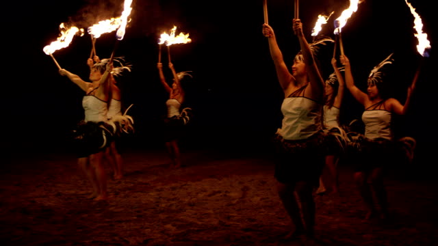traditional hawaiian fire hula dancers - indigenous culture stock videos & royalty-free footage