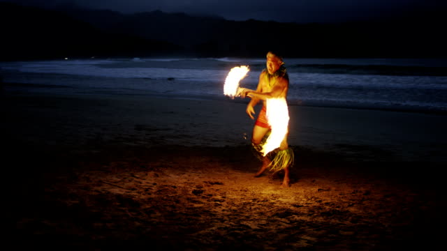 traditional hawaiian fire knife dancer - big island hawaii islands stock videos & royalty-free footage