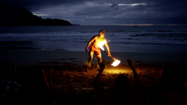 Traditional Hawaiian Fire Knife Dancer