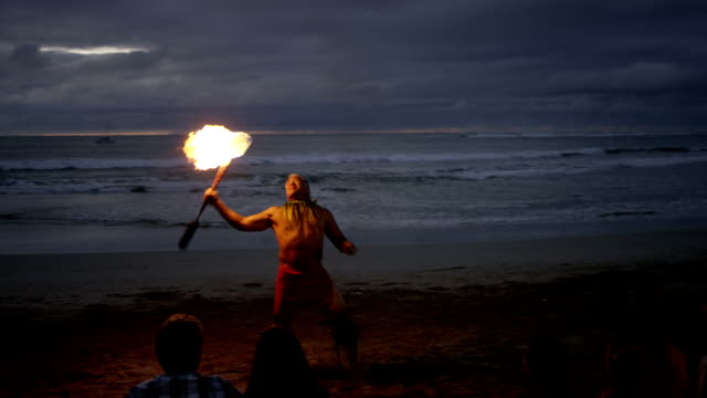traditional hawaiian fire knife dancer - polynesian ethnicity stock videos & royalty-free footage