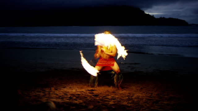 traditional hawaiian fire knife hula dancer - polynesian ethnicity stock videos & royalty-free footage