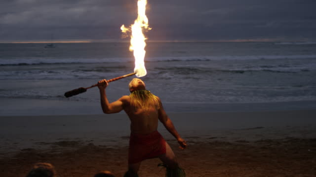 traditional hawaiian fire knife hula dancer - pacific islanders stock videos & royalty-free footage