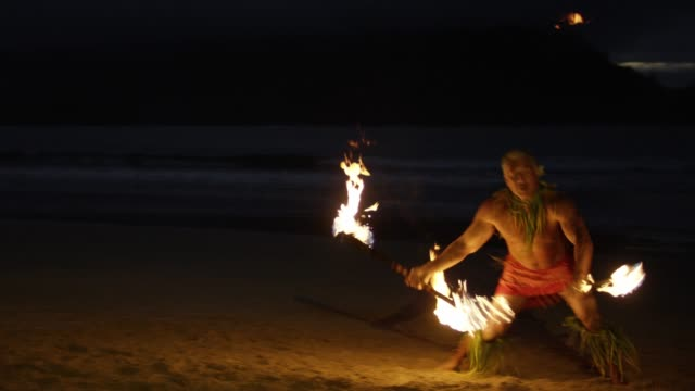 traditional hawaiian fire knife hula dancer - hawaii islands stock videos and b-roll footage