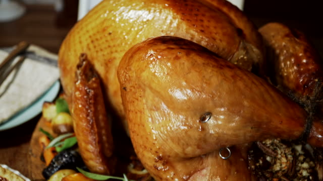 traditional holiday stuffed turkey dinner - mashed potatoes stock videos & royalty-free footage