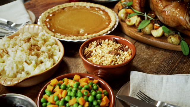 traditional holiday stuffed turkey dinner - thanksgiving stock videos & royalty-free footage