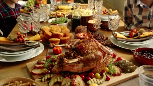 traditional holiday stuffed turkey dinner - turkey stock videos and b-roll footage