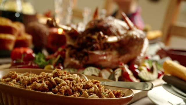 traditional holiday stuffed turkey dinner - thanksgiving stock videos and b-roll footage