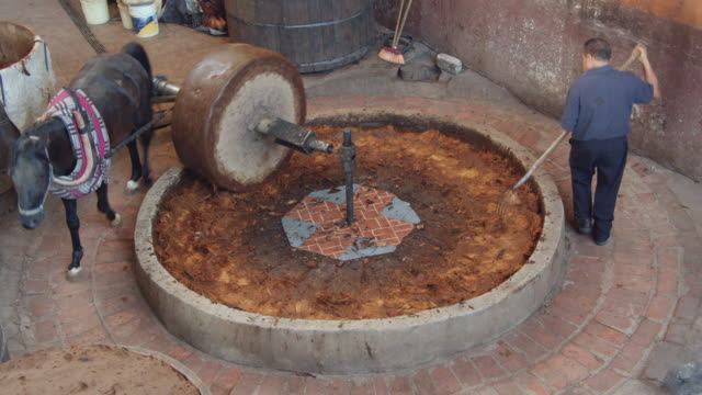 traditional horse millstone mashing agave core. directly above. man using a pitchfork - millstone stock videos & royalty-free footage