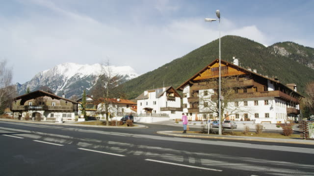 traditional houses in obsteig a popular skiing resort in tyrol - inn stock videos & royalty-free footage