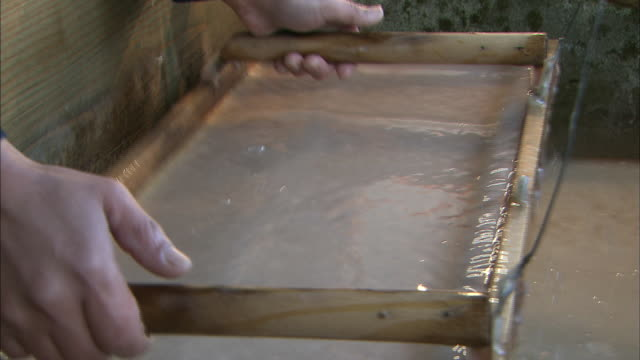traditional japanese paper making, japan - pulp stock videos & royalty-free footage