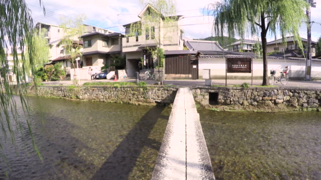 traditional japanese street in kyoto japan - log stock videos & royalty-free footage